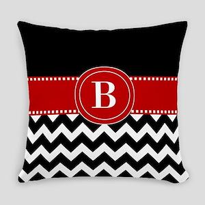 Black Red Chevron Monogram Everyday Pillow