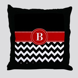 Black Red Chevron Monogram Throw Pillow