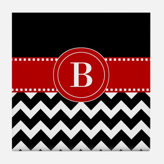 Black Red Chevron Monogram Tile Coaster