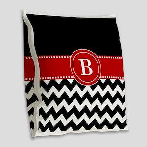 Black Red Chevron Monogram Burlap Throw Pillow