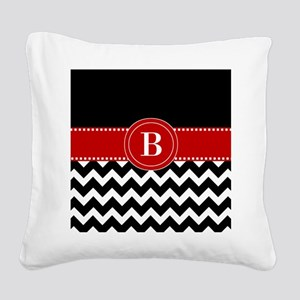 Black Red Chevron Monogram Square Canvas Pillow