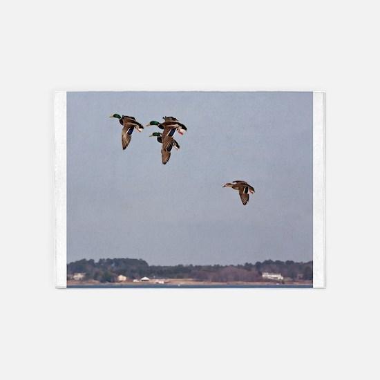 Mallards in flight 5'x7'Area Rug