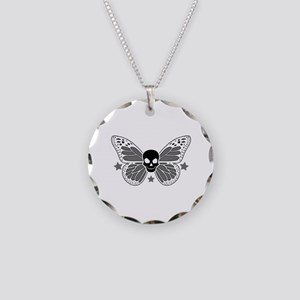 Butterfly Skull Necklace Circle Charm