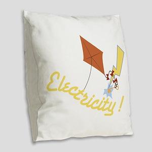 Electricity Burlap Throw Pillow