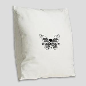 Butterfly Skull Burlap Throw Pillow