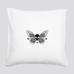 Butterfly Skull Square Canvas Pillow