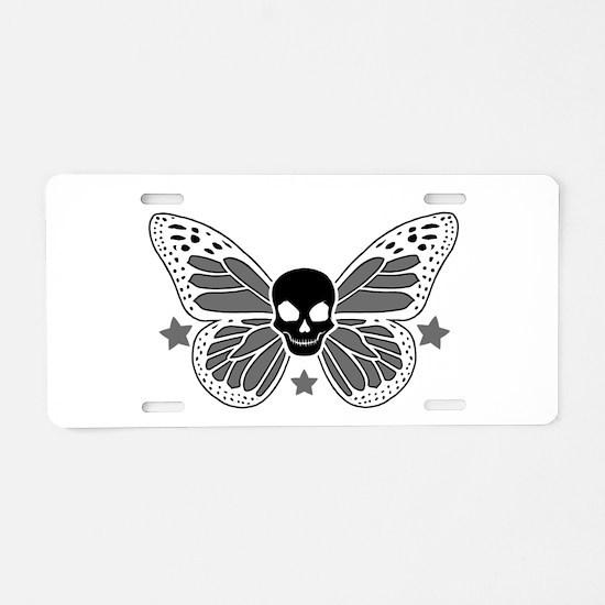Butterfly Skull Aluminum License Plate