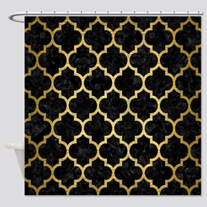 TILE1 BLACK MARBLE & GOLD BRUSHED M Shower Curtain