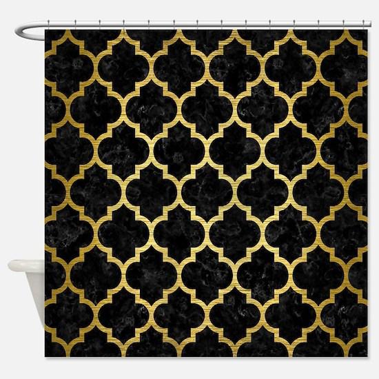 TILE1 BLACK MARBLE & GOLD BRUSHED M Shower Curtain