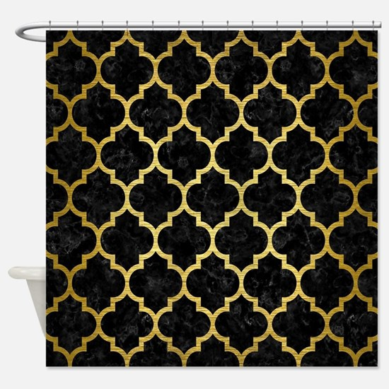 TILE1 BLACK MARBLE GOLD BRUSHED M Shower Curtain