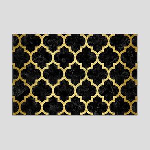 TILE1 BLACK MARBLE & GOLD BRUSHE Mini Poster Print