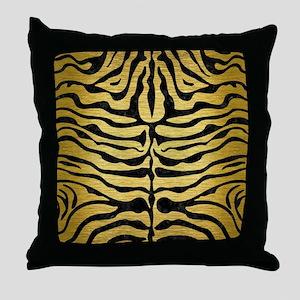 SKIN2 BLACK MARBLE & GOLD BRUSHED MET Throw Pillow