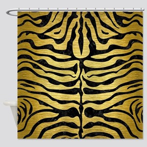 SKIN2 BLACK MARBLE & GOLD BRUSHED M Shower Curtain