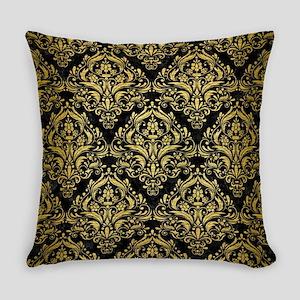 DAMASK1 BLACK MARBLE & GOLD BRUSHE Everyday Pillow