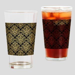 DAMASK1 BLACK MARBLE & GOLD BRUSHED Drinking Glass