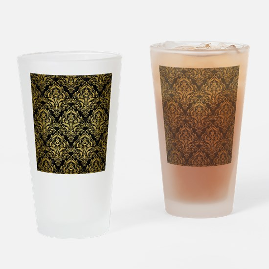 DAMASK1 BLACK MARBLE & GOLD BRUSHED Drinking Glass