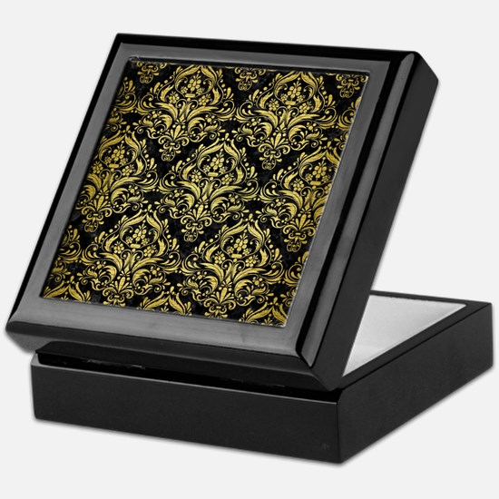 DAMASK1 BLACK MARBLE & GOLD BRUSHED M Keepsake Box