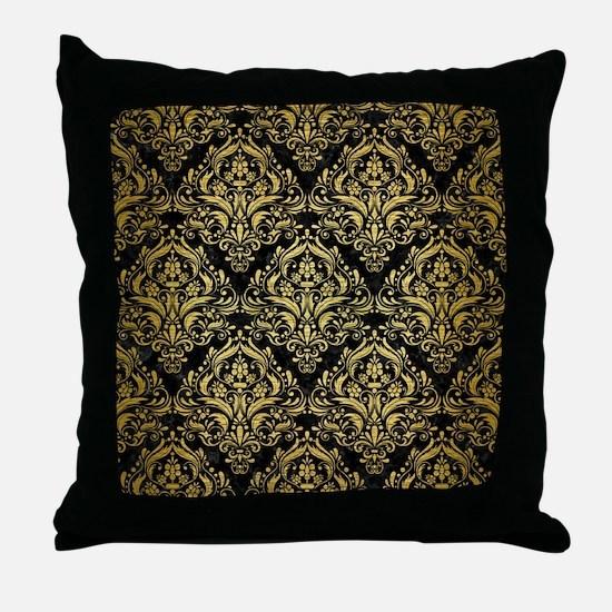DAMASK1 BLACK MARBLE & GOLD BRUSHED M Throw Pillow
