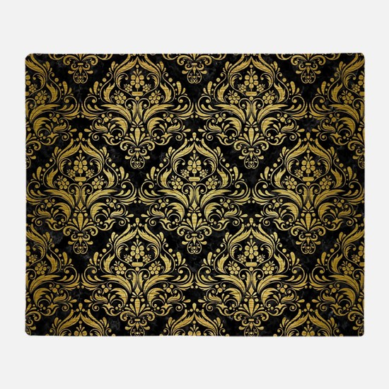 DAMASK1 BLACK MARBLE & GOLD BRUSHED Throw Blanket
