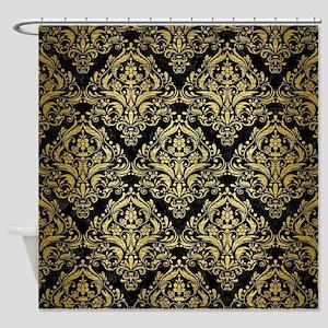 DAMASK1 BLACK MARBLE GOLD BRUSHED Shower Curtain