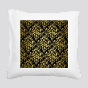 DAMASK1 BLACK MARBLE & GOLD B Square Canvas Pillow