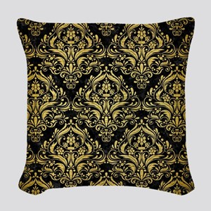 DAMASK1 BLACK MARBLE & GOLD BR Woven Throw Pillow