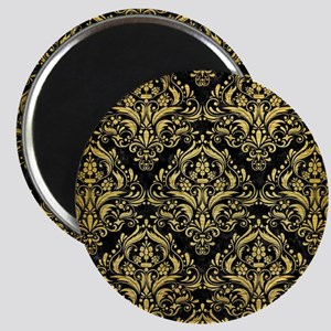 DAMASK1 BLACK MARBLE & GOLD BRUSHED METAL Magnet
