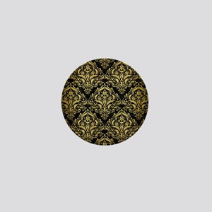 DAMASK1 BLACK MARBLE & GOLD BRUSHED ME Mini Button