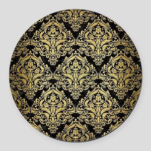 DAMASK1 BLACK MARBLE & GOLD BRUSH Round Car Magnet