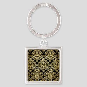 DAMASK1 BLACK MARBLE & GOLD BRUSHE Square Keychain
