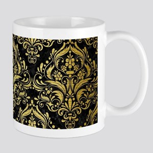 DAMASK1 BLACK MARBLE & GOLD BRUS 11 oz Ceramic Mug
