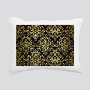 DAMASK1 BLACK MARBLE & G Rectangular Canvas Pillow