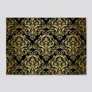 DAMASK1 BLACK MARBLE & GOLD BRUSHED 5'x7'Area Rug