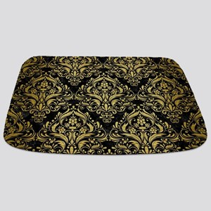 DAMASK1 BLACK MARBLE & GOLD BRUSHED METAL Bathmat