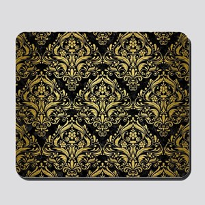 DAMASK1 BLACK MARBLE & GOLD BRUSHED META Mousepad