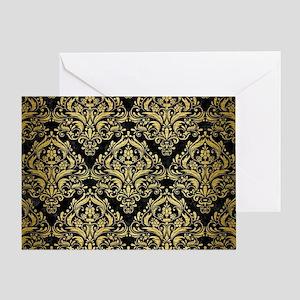 DAMASK1 BLACK MARBLE & GOLD BRUSHED Greeting Card