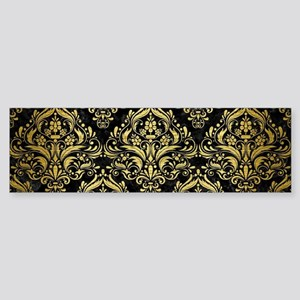 DAMASK1 BLACK MARBLE & GOLD BRUSH Sticker (Bumper)