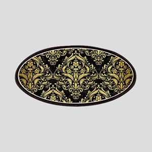 DAMASK1 BLACK MARBLE & GOLD BRUSHED METAL Patch
