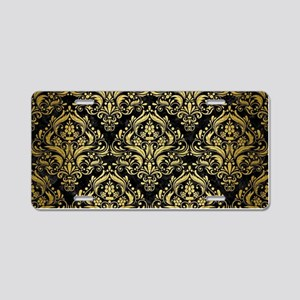 DAMASK1 BLACK MARBLE & GOLD Aluminum License Plate