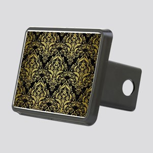 DAMASK1 BLACK MARBLE & GOL Rectangular Hitch Cover