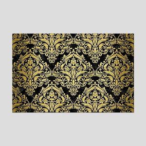 DAMASK1 BLACK MARBLE & GOLD BRUS Mini Poster Print
