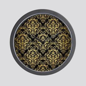 DAMASK1 BLACK MARBLE & GOLD BRUSHED MET Wall Clock