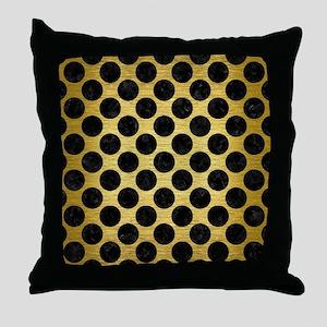 CIRCLES2 BLACK MARBLE & GOLD BRUSHED Throw Pillow