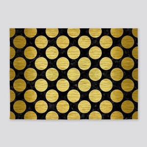 CIRCLES2 BLACK MARBLE & GOLD BRUSHE 5'x7'Area Rug