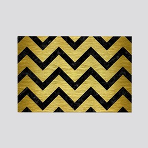 CHEVRON9 BLACK MARBLE & GOLD BRUS Rectangle Magnet