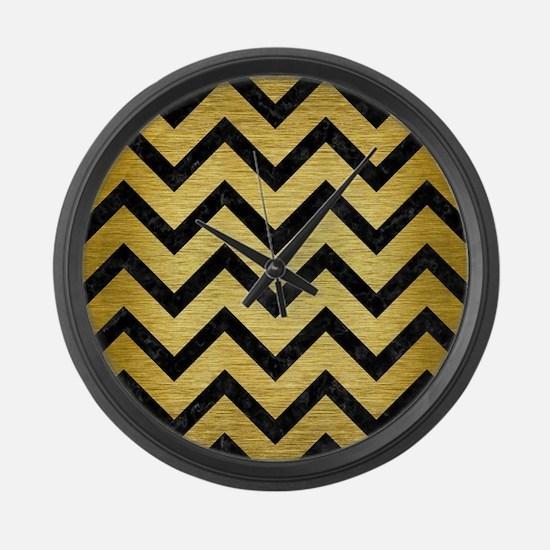 CHEVRON9 BLACK MARBLE & GOLD BRUS Large Wall Clock