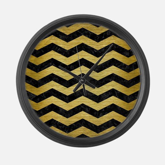 CHEVRON3 BLACK MARBLE & GOLD BRUS Large Wall Clock