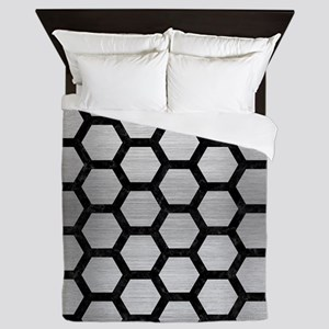 HEXAGON2 BLACK MARBLE & SILVER BRUSHED Queen Duvet