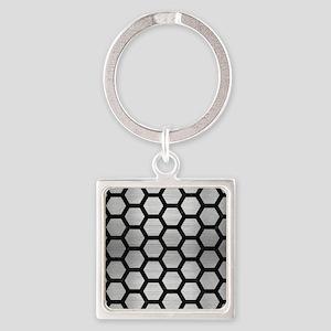 HEXAGON2 BLACK MARBLE & SILVER BRU Square Keychain