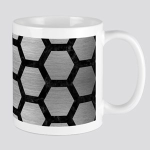 HEXAGON2 BLACK MARBLE & SILVER B 11 oz Ceramic Mug